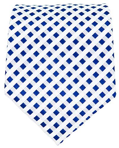 Men's Navy Blue and White Necktie - Checkered Wedding Ties for Men - Woven Necktie - Navy Blue Suit Neck Tie