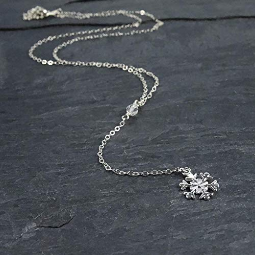 Sterling Silver Small Snowflake Lariat Necklace Jewelry Gift for - Snowflake Silver Winter Sterling