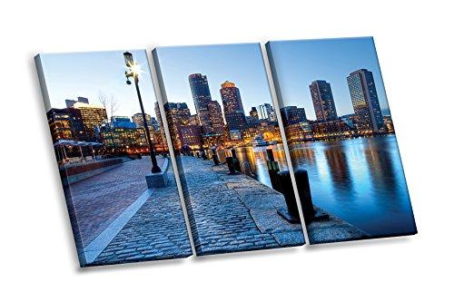 Boston Usa Wall (Boston Harbor Cityscape Skyline 3-piece Multi Panel HD Canvas Wall Art Giclee Print Made in USA)