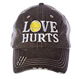 Tennis Addiction LOVE HURTS Women's Trucker Distressed Hat Cap Captain's Tennis Gift