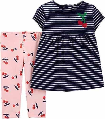 f71e646e2 Carter's Baby Girls Striped Cherry Print Leggings Set 9 Months Navy  Blue/Pink