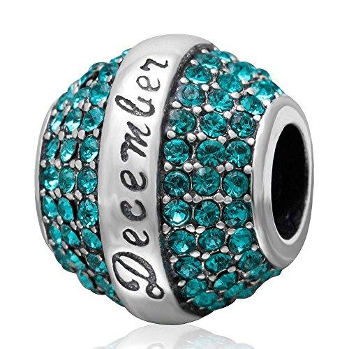 Crystal December Charm - Birthstone Charm 925 Sterling Silver December Charm with Crystal Charm Birthday Charm for Bracelet (December)