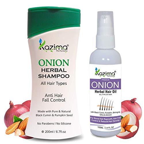 KAZIMA ONION Herbal Hair Oil (100 ML) + ONION HERBAL SHAMPOO 200ML (2 PCS Combo Pack )with Multi Vitamins & Milk Proteins For Men, Women Ideal For Fast Hair Growth, Removes Anti Hair Dandruff & Hair l (Ideal Milk)