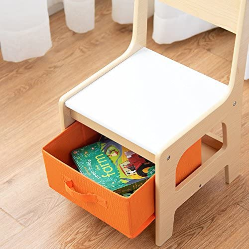 Costzon Kids Table And 2 Chairs Set, 3 In 1 Wooden Table Furniture For Toddlers Drawing, Reading, Train, Art Playroom, Activity Table Desk Sets (Convertible Set With Storage Space)