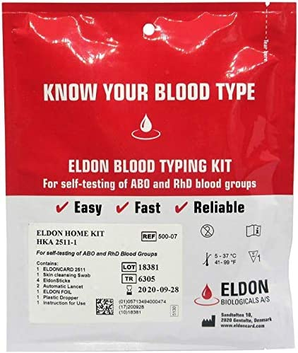 Amazon Com Blood Type Test Kit 2 Tests Eldoncard Home Blood Testing Kits Complete Kit Health Personal Care