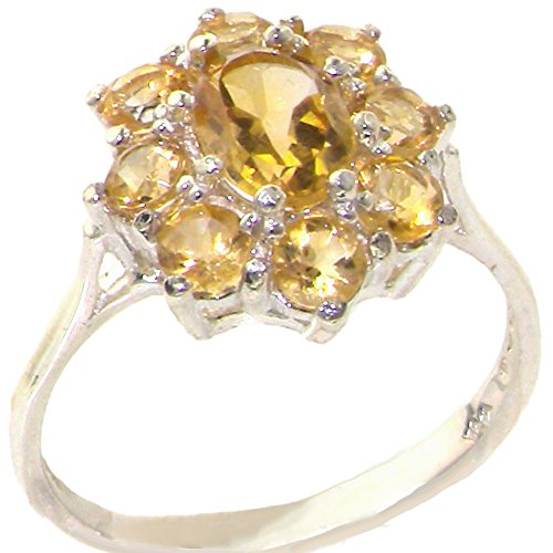 - 925 Sterling Silver Real Genuine Citrine Womens Cluster Ring - Size 11