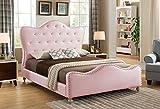Best Master Furniture YY15073 Angela Upholstered Tufted Faux Leather Platform Bed, California King, Pink