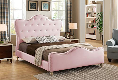 Best Master Furniture YY15073 Angela Upholstered Tufted Faux Leather Platform Bed, California King, Pink