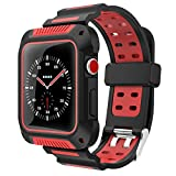 VORI Compatible with Apple Watch Band 42mm Case, Shock-Proof and Shatter-Resistant Silicone Sport Band for iwatch Band Protective Case Compatible with Apple Watch Series 3/2/1 Edition 42mm Red