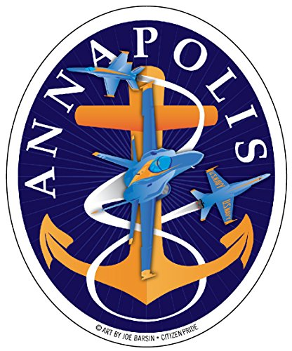 Citizen Pride Blue Angels: Annapolis Aweigh Fouled Anchor sticker decal oval vinyl, 4x5, Made in USA ()