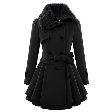 Leey Damen Kleider Jacke Mantel Winterkleider Wintermantel Winterjacken Wollmantel Lange Warm Winterkleid Petticoat Mit Fell Tailliert Bekleidung