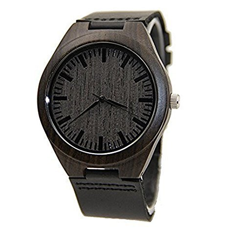 Mercimall Mens Black Wooden Watch with Leather Strap Original Grain Wood Watches - Unisex Black Leather