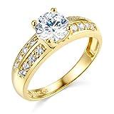 14k Yellow Gold Wedding Engagement Ring - Size 7