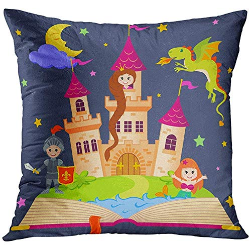 Pretty bb Rapunzel Pink Tale Fairytale Book with Castle Princess Knight Mermaid Dragon Fairy Child History Allegory Art Pillowcase