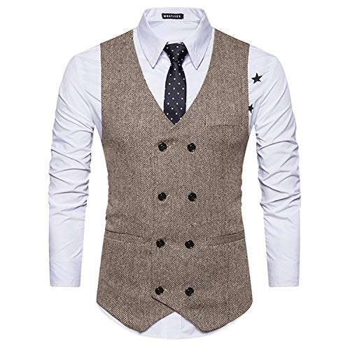 Blazer Wedding Slim Abito Vest Sposa Gilet V Leisure Doppio Da Tuxedo Khaki Vintage Neck Uomo Petto Business Fit wqaxSAfq6H
