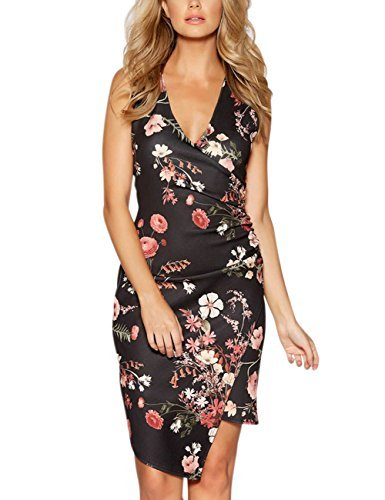 Ruched Silk Sheath Dress (GlorySunshine Women's Sleeveless V Neck Faux Wrap Ruched Midi Bodycon Cocktail Pencil Dress (XL, Black&Floral))