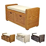Rattan Wicker Bruno Handmade 35″ Chest Storage Trunk Organizer Ottoman Two Drawers Colonial (Light Brown) For Sale