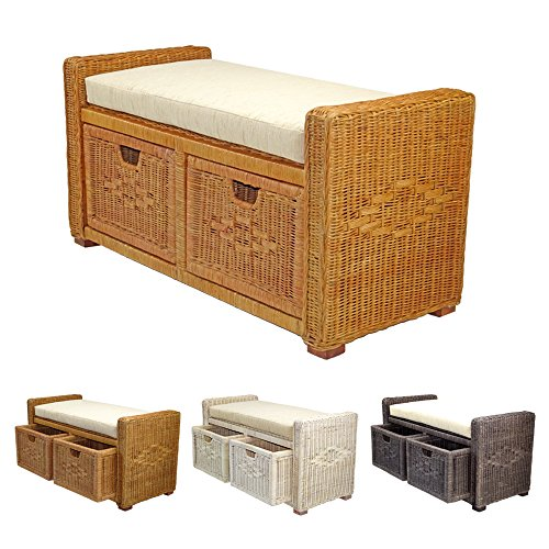"Rattan Wicker Bruno Handmade 35"" Chest Storage Trunk Organizer Ottoman Two Drawers Colonial (Light Brown)"