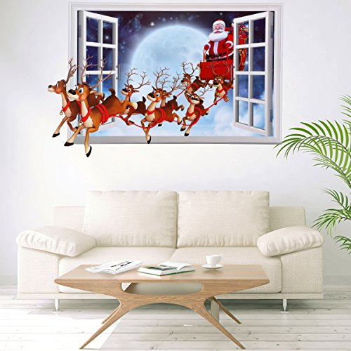 Christmas Wall Decals - Christmas Wall Decals Stickers,3D Style Santa Claus Carrying Gifts Wall Decor Removable DIY Wall Decal Sticker for kids Rooms Home Decoration