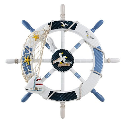WINOMO 18-Inch Wheel Wall Decor Nautical Decor Nautical Boat Steering Wheel]()