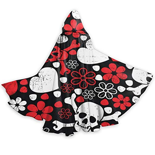 Caveira No Halloween (QDL White and Red Caveira Hearts Full Length Hooded Cloak Christmas Halloween Cosplay Costume Party Cape)