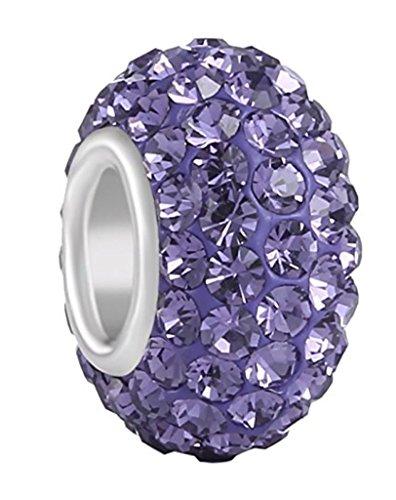 925 Solid Sterling Silver June Birthstone Charm Swarovski Crystal Elements For Charm Bracelet EC684-6