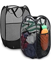 Mesh Popup Laundry Hamper,2Pcs Foldable Clothes Hamper Laundry Basket with Portable for Dirty Clothes, Portable,Durable Handles,Collapsible for Storage,Easy to Open and Folding for Travel Home Use