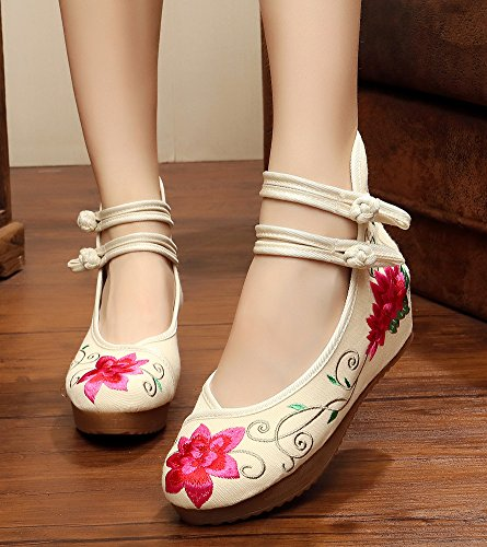 Avacostume Femmes Broderie Florale Coin Cheville Sangles Chaussure Rouge
