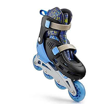 New Bounce Adjustable Inline Skates for Kids - 4 Wheel Blades Roller Skates for Boys, Girls, Teens, and Young Adults Outdoor Rollerskates for Beginners & Advanced | Blue : Sports & Outdoors