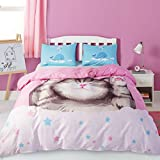 Style Bedding Duvet Cover Twin, 100% Cotton 3pcs Duvet Cover and Pillow Shams Set for Kids Girls Boys Cute Cat Soft Comfy Hypoallergenic Comforter Cover Bedding Set Twin 68 x 90 in