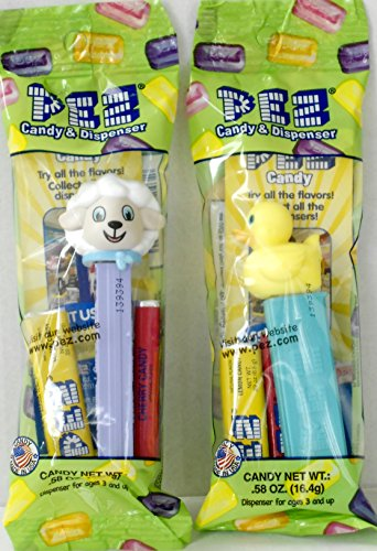 2 Easter Pez Dispenser Bundle - Duckie and Lamb in Cello Packages with 2 Rolls of Candy Each (Pez Lamb Candy)