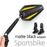 KiWAV Magazi Achilles motorcycle mirrors gold fairing mount w/ matte black adapter for sports bike adjustable e