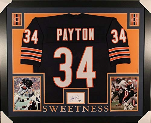 (Walter Payton Autographed Signed Memorabilia Bears 35X43 Framed Display With Jersey & Autographed Signed Memorabilia Index Card - Certified Authentic)