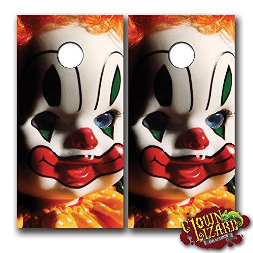 CL0013 Evil Creepy Clown Doll CORNHOLE LAMINATED DECAL WR...