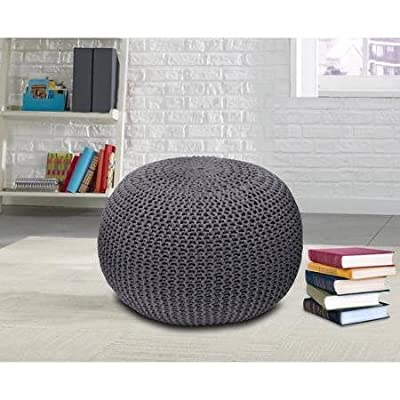 Urban Shop Round Knit Pouf, Contemporary Style, Made of Polyester, Knitted Texture