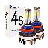 SOCAL-LED 2 x 4S H11 H8 Headlight Bulbs LED Conversion Kit 80W 8000LM COB LED Bulb, 6000K Crystal White, 4-Side Light