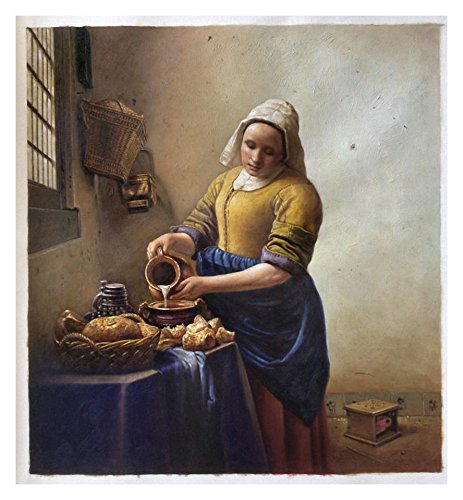 Dutch Jug (The Milkmaid - Johannes Vermeer high quality hand-painted oil painting reproduction,Kitchen Maid Pours Milk from a Jug by Window Scene,Dinning Room Art)