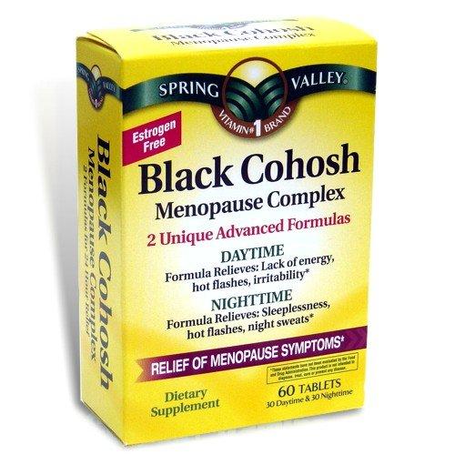 Spring Valley - Black Cohosh Complexe Ménopause, 60 comprimés, de jour et de nuit Formule avancée