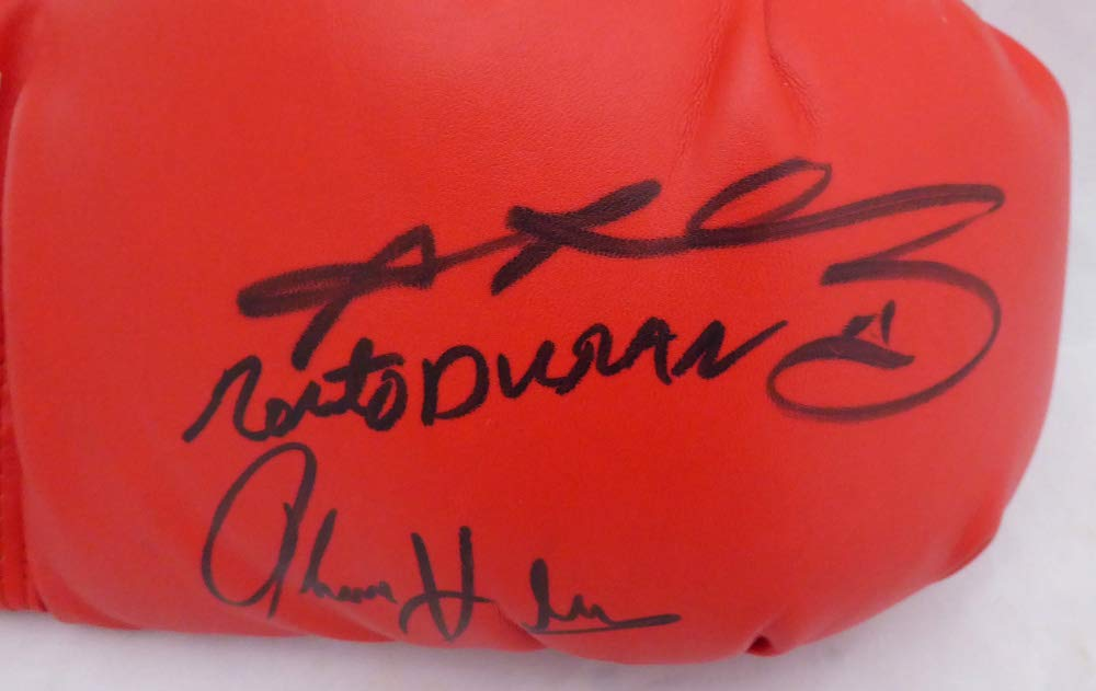 BOXING GREATS AUTOGRAPHED RED EVERLAST BOXING GLOVE WITH 3 SIGNATURES INCLUDING SUGAR RAY LEONARD, THOMAS HEARNS & ROBERTO DURAN RH BECKETT (BAS) STOCK #138751