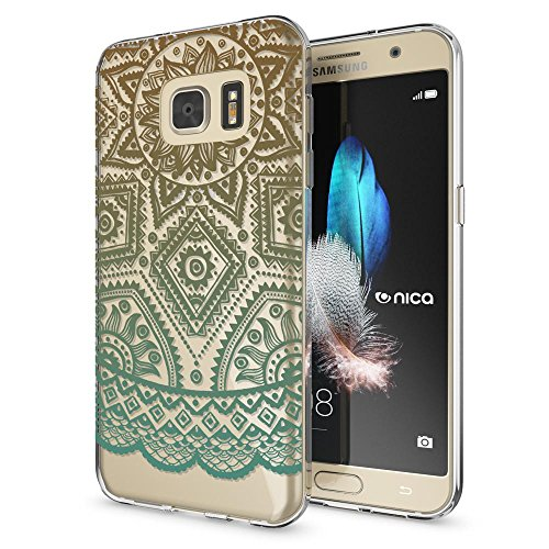 Samsung Galaxy S7 Case Phone Cover by NICA, Ultra-Thin Silicone Pattern Back Protector Soft Skin, Crystal Clear Gel Shockproof Bumper, Slim Transparent Protective for S-7, Designs:Mandala Cyan Green