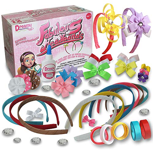 DIY Headbands for Girls Craft Kit [12 Bands] - Hair Accessories Arts & Crafts for Girls Age 5 to 12 - Hair Band Jewelry Making Toy for Learning & Fun
