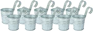 "NIRMAN Rustic Galvanized Metal Hanging Planter Pots - Planter Set for Plant and Flower, Indoor Balcony and Outside Garden Planter Baskets Bucket |Top Dia- 4"", Bottom D- 7"", High- 3.25""