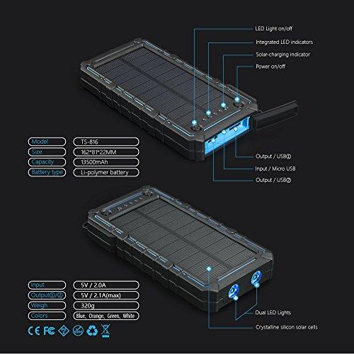Soluser Cargador Solar, 13500mAh Premium de energía Solar Banco Dual USB Pack de baterías de batería, Cargador de batería Externo Solar Exterior con 2 LED ...