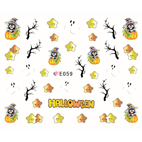 MSmask Halloween Nail Art Manicure Sticker Floral Paster Skull Pumpkin Festival Ghost