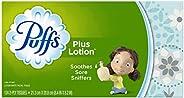 Puffs Plus Lotion Facial Tissues, 1 Family Box, 124 Tissues per Box