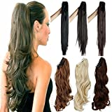 FUT Jaw Claw Ponytail Clip in One Piece Curly Pony Tial Hair Extensions 18inch 150g for Girl Lady Women Dark Brown
