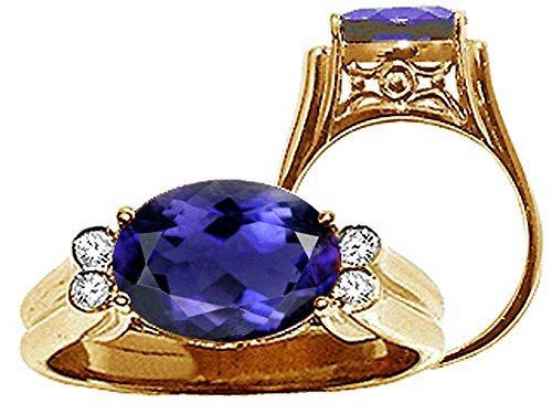 Tommaso Design Large Oval 10x8 mm Genuine Iolite Ring 14 kt Yellow Gold Size 8.5 ()