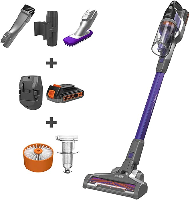 BLACK+DECKER BSV2020P POWERSERIES Extreme Pet Cordless Stick Vacuum Cleaner, Purple