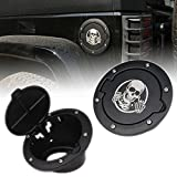 HOZAN Black Aluminum Powder Coated Gas Cover Fuel Filler Cap for Jeep Wrangler JK JKU Sport Rubicon Sahara 2007-2017