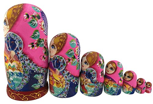 Beautiful Color Cute Little Girl Fairy Tale Handmade Wooden Russian Nesting Dolls Matryoshka Dolls Set 7 Pieces for Kid Toy Birthday Home Decoration by Winterworm (Image #1)